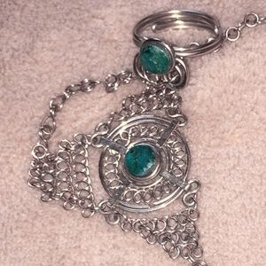 Bracelet with attached ring, malachite and silver